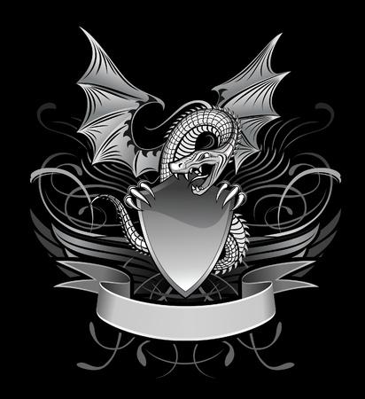 nobile: Mistero drago alato sulla Shield Vettoriali