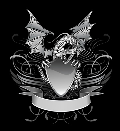 heraldic shield: Mystery Dragon Winged upon the Shield