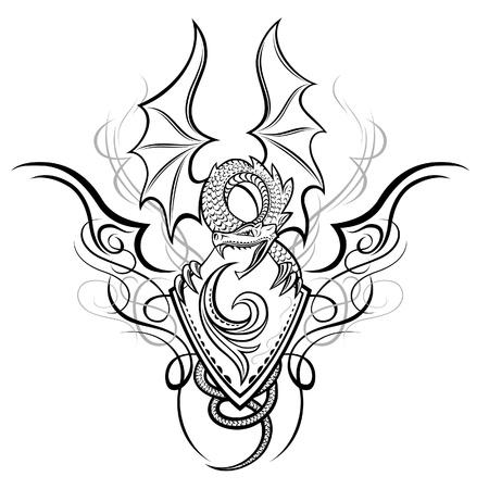 tatuaje dragon: Fantasy Dragon Insignia