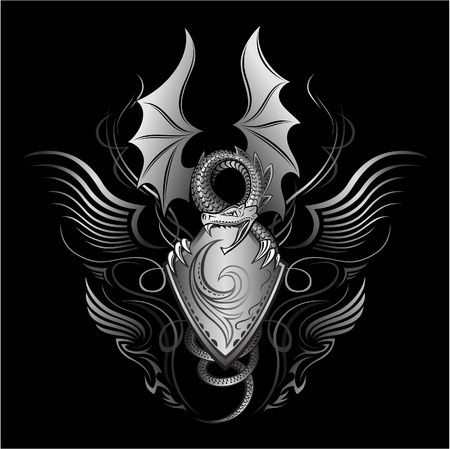 dragon tattoo: Fantasy dragon Insignia Illustration