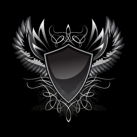 shield with wings: Gothic Shield Insignia
