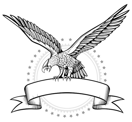 tattoo arm: Spread wing eagle banner