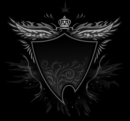 eagle shield: Gothic Shield Insignia Illustration