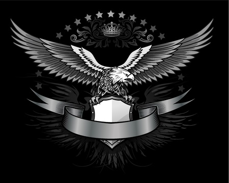 spread eagle: Fury spread winged eagle insignia  Illustration