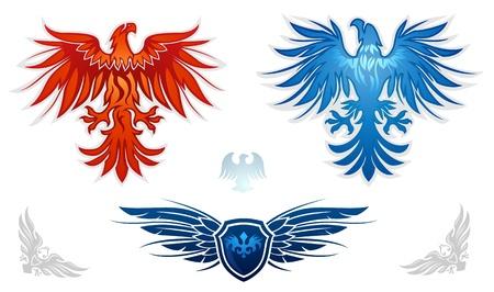 Heraldic eagles vector set  Stock Vector - 13026032