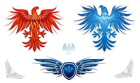 winged: Heraldic eagles vector set  Illustration
