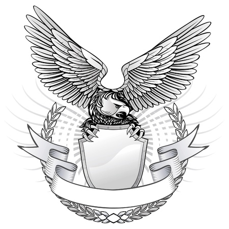 spread eagle: Spread Wing Eagle Insignia  Illustration