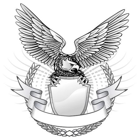 spreading arms: Spread Wing Eagle Insignia  Illustration