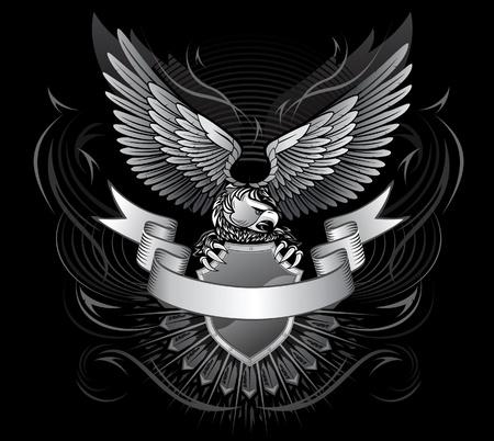 aigle: Wild Eagle Sur le bouclier avec une bande à l'avant pour le titre Sur fond noir