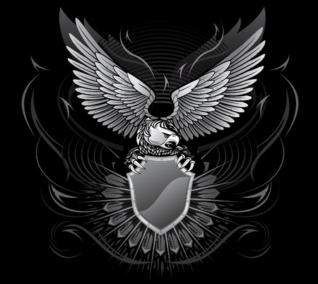 Wild Eagle Upon the Shield On Black Background  Illustration