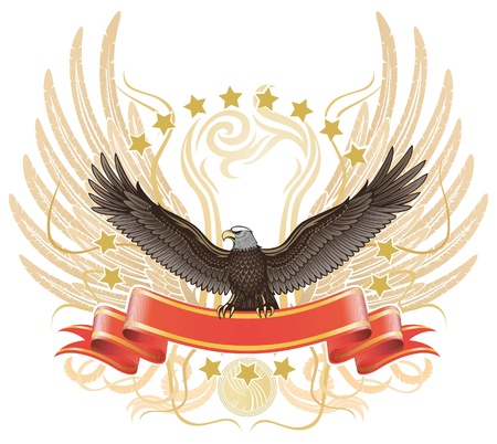 Winged Eagle upon The Ribbon Stock Vector - 13026140