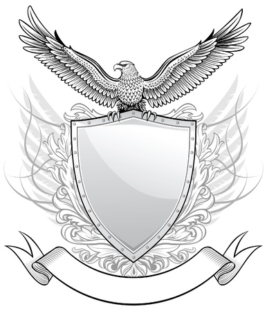 spread eagle: Shield with Eagle Emblem  Illustration