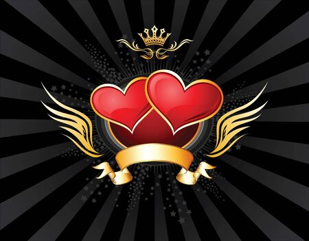 Two Hearts Insignia  Vector