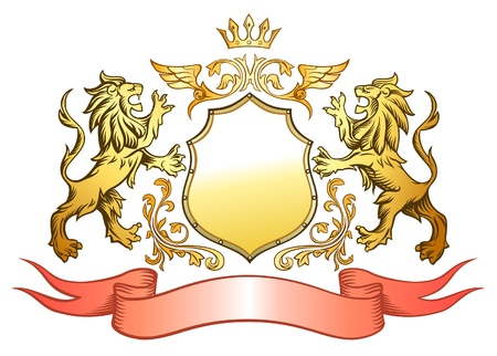 crown tattoo: Golden Lion Shield Insignia