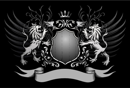 Lions Shield and Crown Winged Insignia  Vector