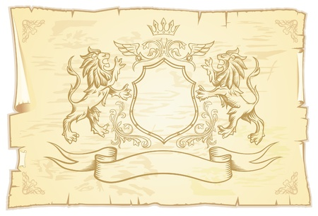 Ancient Lions Scroll  Vector