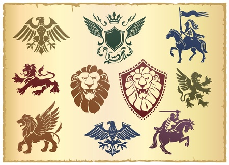 lion dessin: Vecteur h�raldique mis avec le lion, l'aigle et fleuri Illustration