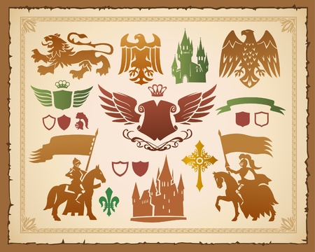 Heraldic set with lions, knights and eagles  Vector
