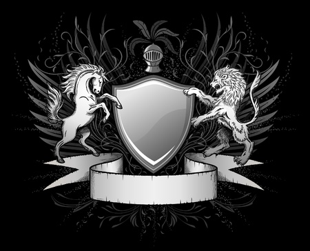 lion wings: Le�n y el Caballo Escudo Insignia Vectores