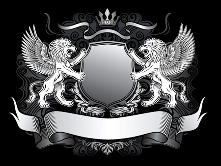 escudo de armas: Winged Lion Emblem Vectores