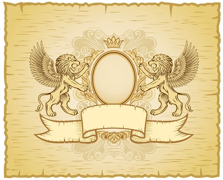 Antique Lion Emblem  Vector