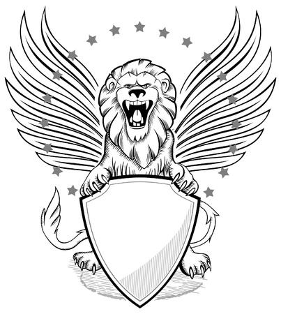lion drawing: Roaring leone alato con scudo Insignia Vettoriali