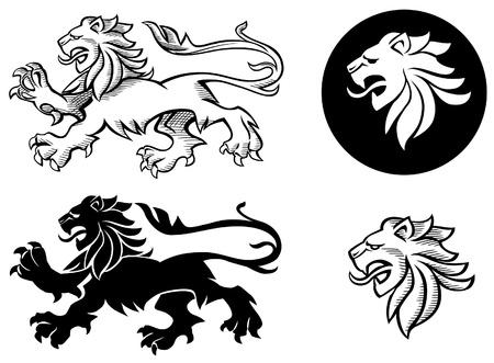 lion dessin: Lion h�raldique silhouettes