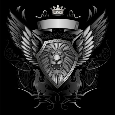 lion: Roaring Lion Winged Shield Insignia  Illustration