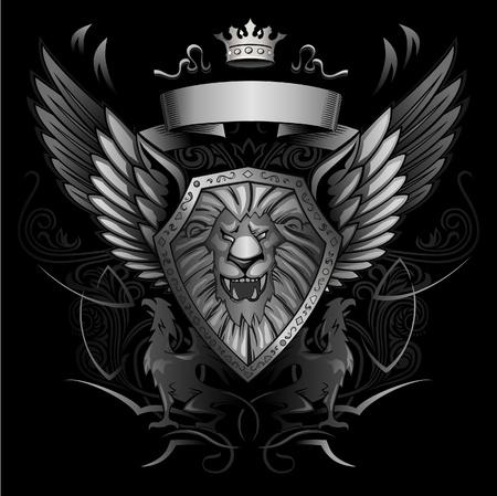 leon con alas: Ruge León Alado Escudo Insignia