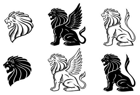 leon alado: Le�n Alado Silhuette Vectores