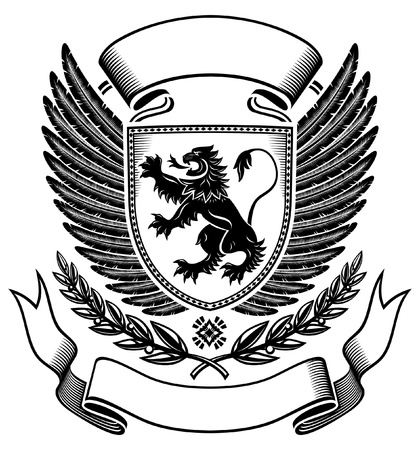 Lion Upon The Shield Insignia  Vector