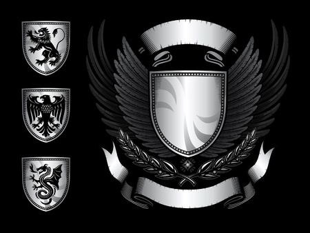 coat of arms  shield: winged shield emblem  Illustration