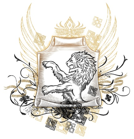 Lion on Scroll Insignia  Vector