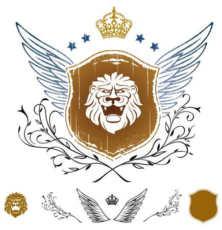 Lion Head on Shield Winged Insignia  Vector