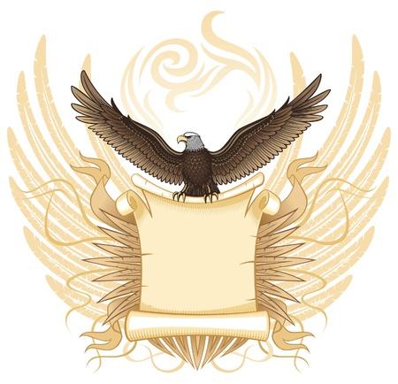 eagle tattoo: Spread Winged Eagle Holding The Scroll