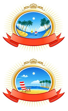 Tropical Coastline Emblems  Vector