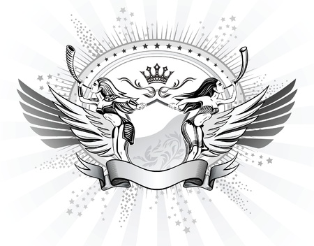 spread eagle: Valkyries Blows The Horns Shield Insignia  Illustration