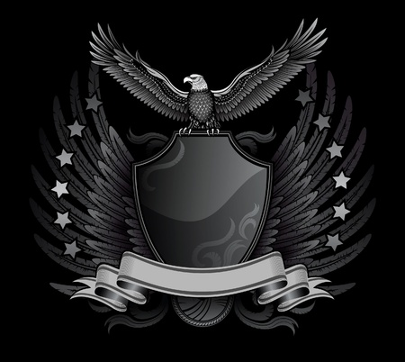 spread eagle: Spread Winged Eagle Upon The Shield Insignia  Illustration