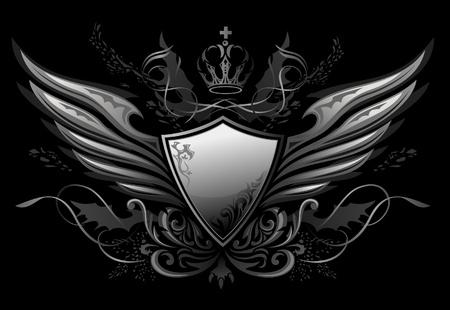 방패: 고딕 양식의 날개 달린 방패 휘장 일러스트