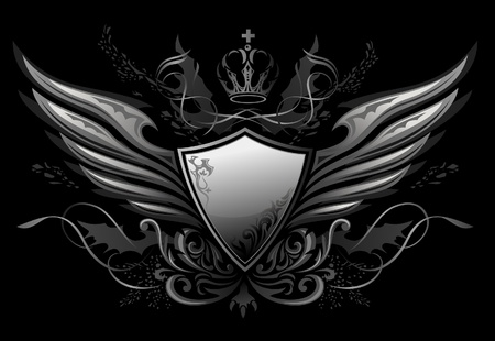 Gothic Winged Shield Insignia  Vector