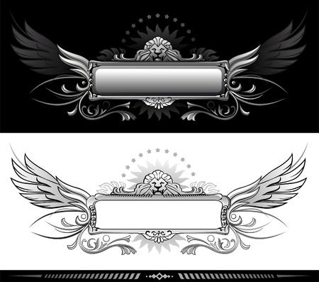 winged lion: Bandera con cabeza de le�n con alas Vectores