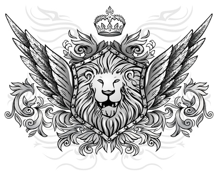 ancient lion: Winged Lion Insignia Illustration