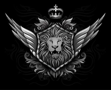 leon con alas: León Alado Insignia 2 Vectores