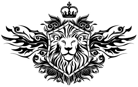 leon alado: En Le�n Escudo Insignia Vectores