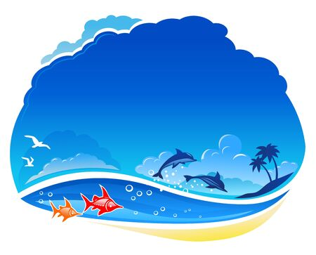 sea horizon: Tropical sea with dolphins on the wave