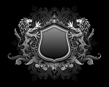 escudo de armas: Leones celebración escudo insignia de