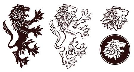 lion dessin: Lion h�raldique silhouettes 2