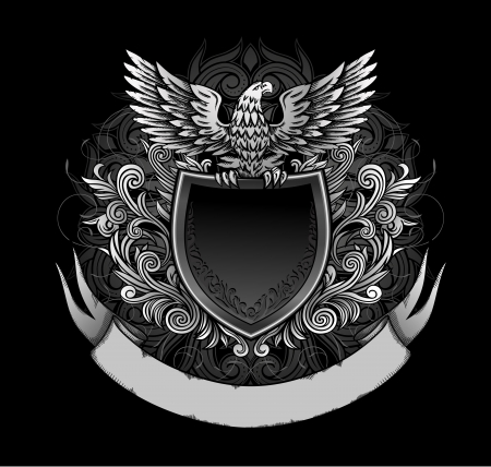 eagle: Eagle on Dark Shield Insignia Illustration