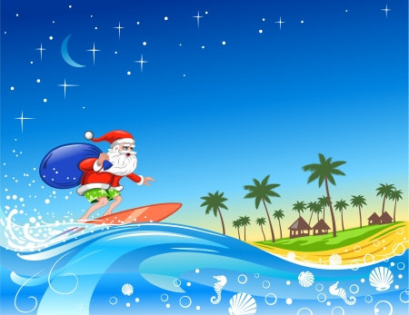 Christmas Santa on the Wave Stock Vector - 14480119