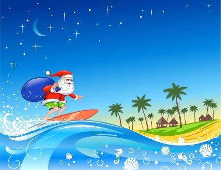 weihnachtsmann: Weihnachten Santa auf dem Wave-